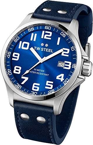 TW Steel Unisex-Armbanduhr Pilot Analog leder blau TW401