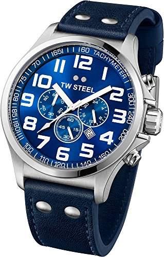 TW Steel Unisex-Armbanduhr Pilot Chronograph leder blau TW402