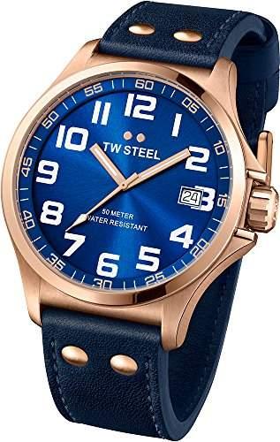 TW Steel Unisex-Armbanduhr Pilot Analog Leder blau TW404