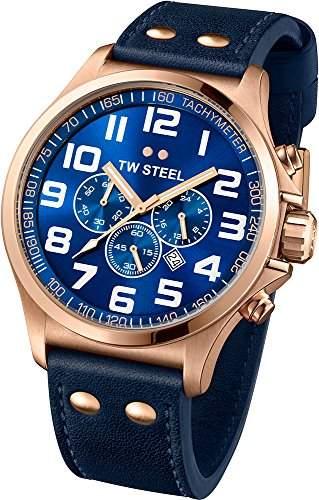TW Steel Unisex-Armbanduhr Pilot Chronograph leder blau TW406