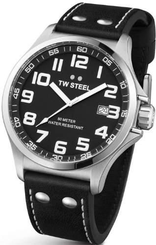 TW Steel Unisex-Armbanduhr Pilot Analog leder schwarz TW409