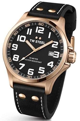 TW Steel Unisex-Armbanduhr Pilot Analog Leder Schwarz TW417