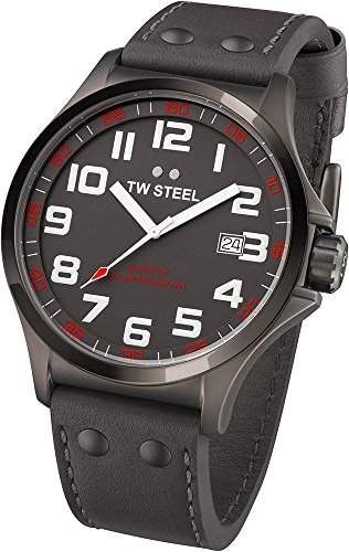 TW Steel Unisex-Armbanduhr Pilot Analog leder grau TW421