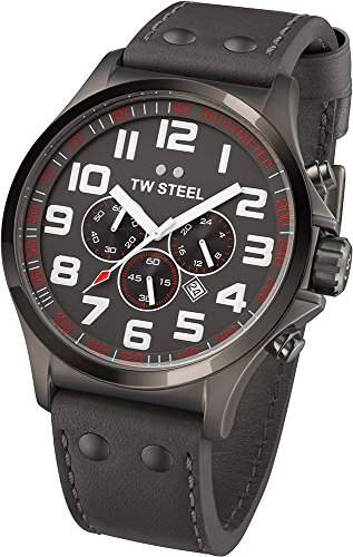 TW Steel Unisex-Armbanduhr Pilot Chronograph leder grau TW423