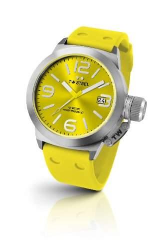 TW Steel Damen-Armbanduhr XL Canteen Style Analog Quarz Kautschuk TW-520