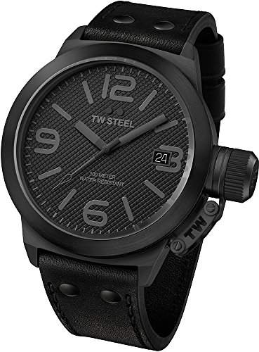 TW Steel Unisex-Armbanduhr Analog Leder schwarz TW844