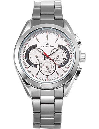 KS Herren Armbanduhr Analog Mechanische Uhr Tag Datum 24 Stunden Anzeige Stahl Band Automatikuhr KS223