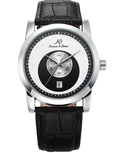 KS Herren Armbanduhr Schwarz Silber Mechanische Uhr Datum Anzeige Leder Band KS331