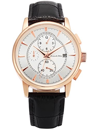 KS Herren Automatik Mechanische Armbanduhr Automatikuhr Schwarz Leder Band KS283