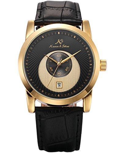 KS Schwarz Gold Mechanische Uhr Datum Anzeige Leder Band KS328