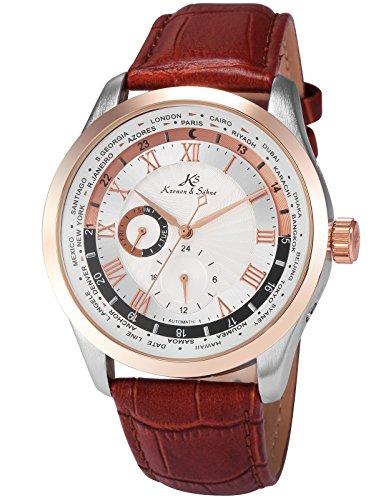 KS Herren Mechanische Armbanduhr Analog Braun Lederband KS302