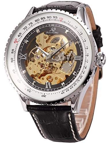 KS Automatikuhr XL Herren Uhr Skelettuhr Automatik Mechanik Uhr Armbanduhr