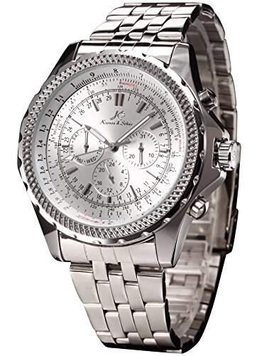 KS Automatikuhr XL Herrenuhr Weiss Automatik Mechanik Uhr Metall Armbanduhr