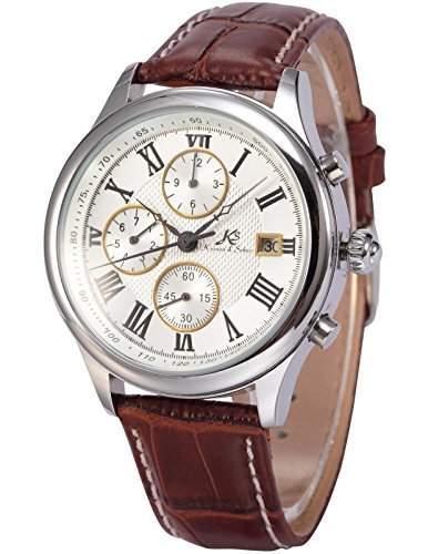 Ks Herren Armbanduhr Automatik Mechanik Uhr Braune Armband aus Leder Datumanzeige KS144