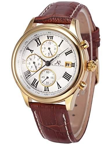 Ks Herren Armbanduhr Automatik Mechanik Uhr Braune Armband aus Leder Datumanzeige KS146