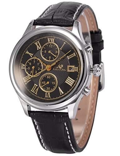 Ks Herren Armbanduhr Automatik Mechanik Uhr Schwarze Armband aus Leder Datumanzeige KS147