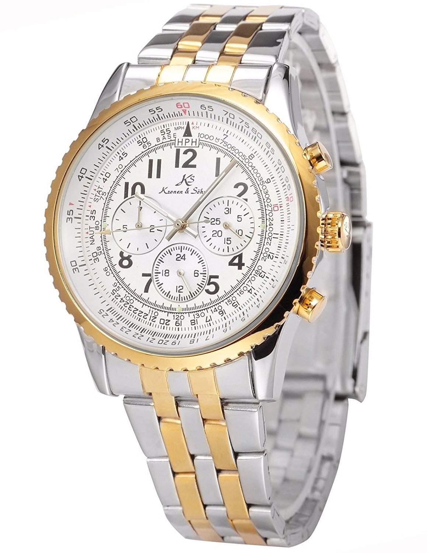KS Herren Armbanduhr Automatik Mechanik Uhr mit Silber Armband aus Edelstahl KS160