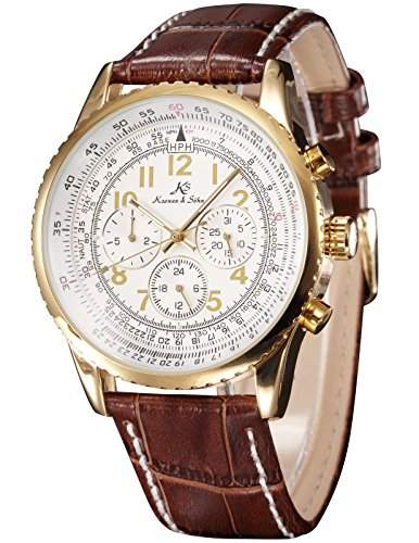 KS Herren Armbanduhr Automatik Mechanik Uhr mit Braun Armband aus Leder KS161