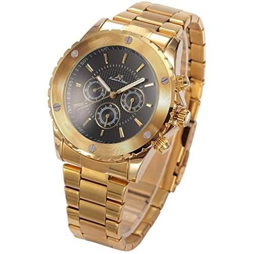 KS Navigator - Herren Armbanduhr Automatik Mechanisch Golden Armband aus Edelstahl Datumanzeige KS169