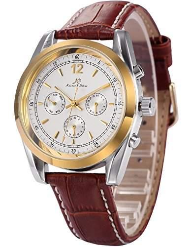 Ks Imperial Series Herren Armbanduhr Automatik Mechanisch Braune Armband aus Leder mit Datumanzeige KS170