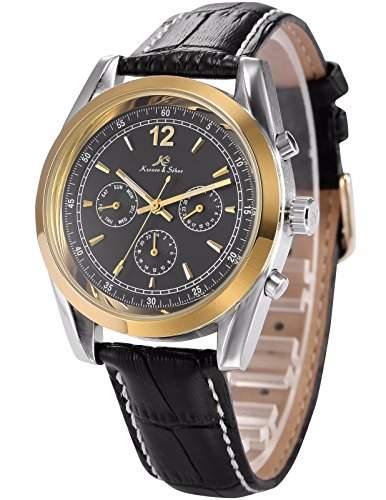 Ks Imperial Series Herren Armbanduhr Automatik Mechanisch Schwarze Armband aus Leder mit Datumanzeige KS172