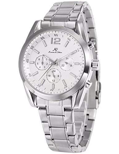 KS Imperial series Herren Armbanduhr Automatik Mechanisch Silber Armband aus Edelstahl mit Datumanzeige KS186
