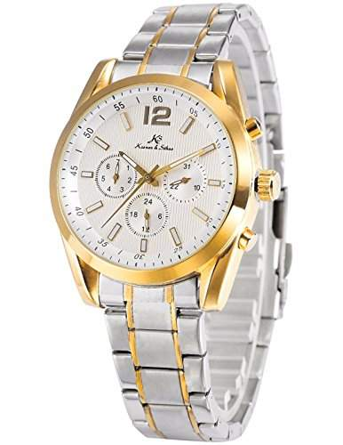 KS Imperial series Herren Armbanduhr Automatik Mechanisch Gold Silber Armband aus Edelstahl mit Datumanzeige KS189