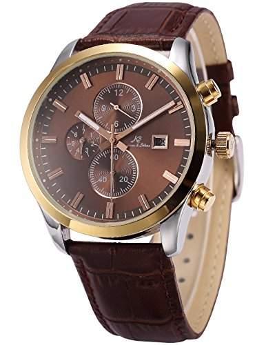 KS Herren Automatische Mechanische Uhr Analog Leder Armband Datumanzeige KS198