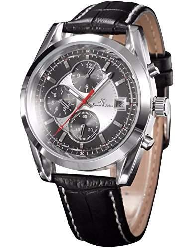 KS Navigator series Herren Armbanduhr Automatik Mechanisch Schwarze Armband aus Leder Datumanzeige KS202