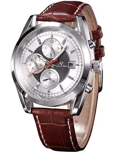 KS Navigator series Herren Armbanduhr Automatik Mechanisch Braune Armband aus Leder Datumanzeige KS203