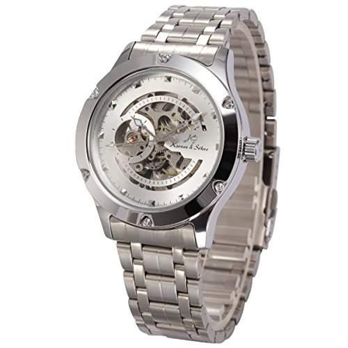 KS Herren Armbanduhr Automatikuhr Mechanische Armbanduhr Silber Armband aus Edeltahl KS206