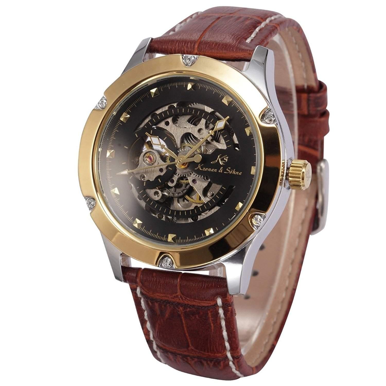 KS Herren Armbanduhr Automatikuhr Mechanische Armbanduhr Armband aus Leder KS208
