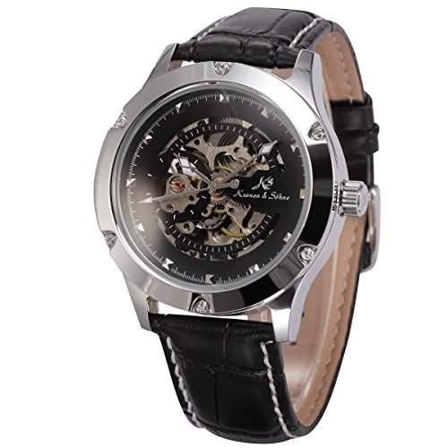 KS Herren Armbanduhr Automatikuhr Mechanische Armbanduhr Armband aus Leder KS209