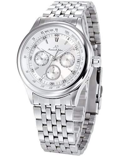 KS Herren Armbanduhr Automatik Mechanisch Silber Edelstahl Armband Datumanzeige KS211