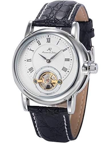 KS Herren Armbanduhr Analog Mechanische Uhr Auto Bruecke Zifferblatt Schwarz Leder Band KS215