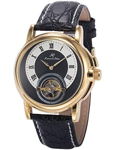 KS Herren Armbanduhr Analog Mechanische Uhr Auto Bruecke Zifferblatt Schwarz Leder Band KS217