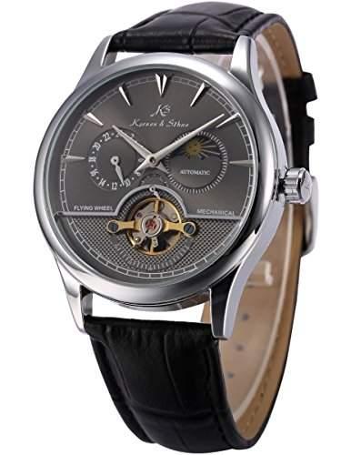 KS Herren Automatische Mechanische Armbanduhr Analog Leder Armband KS228