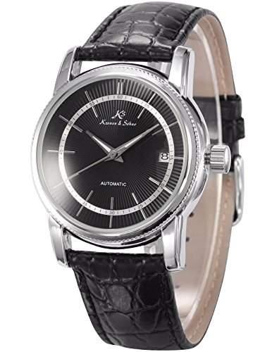 KS Herren Armbanduhr Automatik Mechanisch Schwarze Armband aus Leder mit Datumanzeige KS233