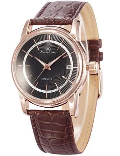 KS Herren Armbanduhr Automatik Mechanisch Braune Armband aus Leder mit Datumanzeige KS234