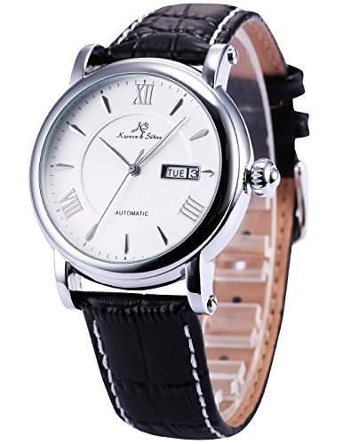 KS KS235 Herren Armbanduhr Automatik Mechanisch mit Datumanzeige Armband aus Leder