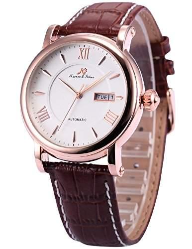 KS KS236 Herren Armbanduhr Automatik Mechanisch mit Datumanzeige Armband aus Leder