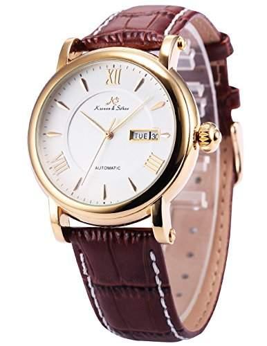 KS KS237 Herren Armbanduhr Automatik Mechanisch mit Datumanzeige Armband aus Leder