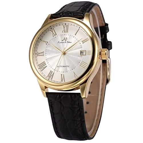 KS Herren Automatik Mechanisch Uhr Analog Schwarz Leder Armband Datumanzeige KS241