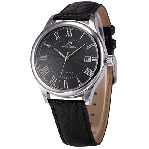 KS Herren Automatik Mechanisch Uhr Analog Schwarz Leder Armband Datumanzeige KS244