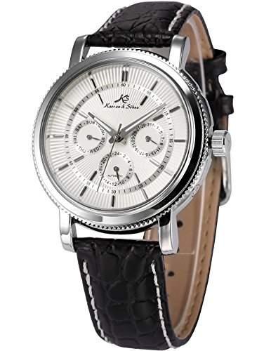 KS Herren Armbanduhr Automatik Mechanisch Schwarz Leder Armband Datumanzeige KS245