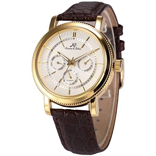 KS Herren Armbanduhr Automatik Mechanisch braun Leder Armband Datumanzeige KS246