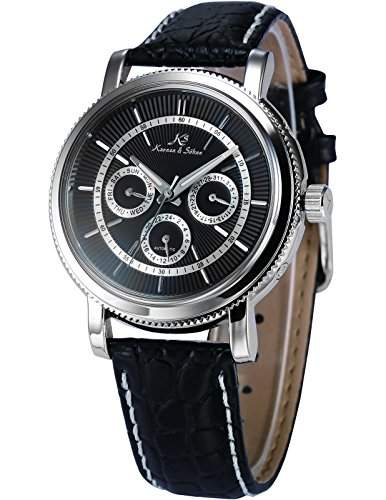 KS Herren Armbanduhr Automatik Mechanisch Schwarz Leder Armband Datumanzeige KS247