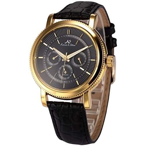 KS Herren Armbanduhr Automatik Mechanisch Schwarz Leder Armband Datumanzeige KS249