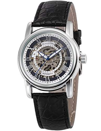 KS Herren Automatik Mechanisch Uhr Analog Skeleton Ziffernblatt Leder Armband KS250
