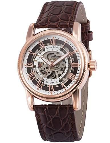 KS Herren Automatik Mechanisch Uhr Analog Skeleton Ziffernblatt Leder Armband KS252
